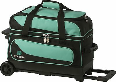 Ebonite Transport 2 Ball Roller Bowling Bag with Wheels Color is Teal/Black