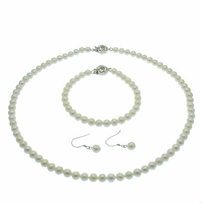 Pearl Jewellery Set Necklace Bracelet Earrings 6mm Round Sterling Silver Boxed
