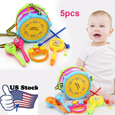 5pcs Kids Baby Roll Drum Musical Instruments Band Kit Children Toy Gift Set USPS