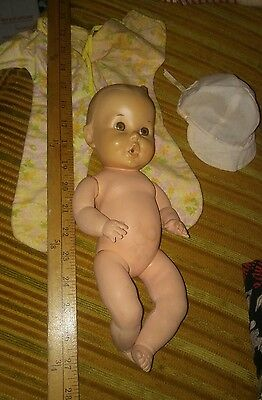 """Vintage Sun Rubber Gerber Baby Doll 1950's  Original 11"""" Squeaker jointed"""