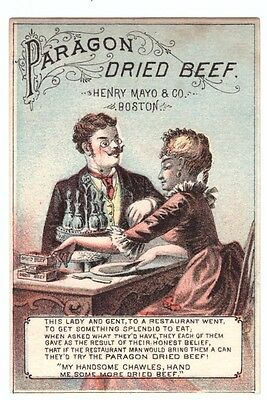 1880's Trade Card Paragon Dried Beef Henry Mayo & Co Boston