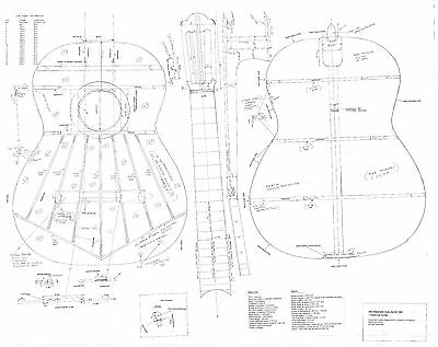 Hauser Classical Guitar Plans full scale - detailed technical to make the guitar