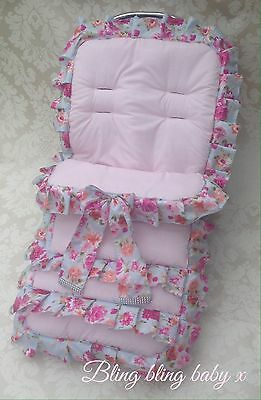 Universal Pram Seat, Pushchair Cosy Toes , Footmuff Liner Frilly Romany Bling