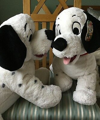 Disney, 101 Dalmations, 2 Large Soft/ Plush Toys, Used, Grubby In Areas.