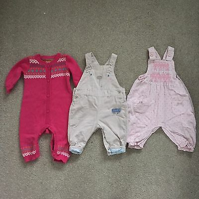 Next Mothercare Girls Dungarees Playsuit All In One Pink 0-3 Months Bundle