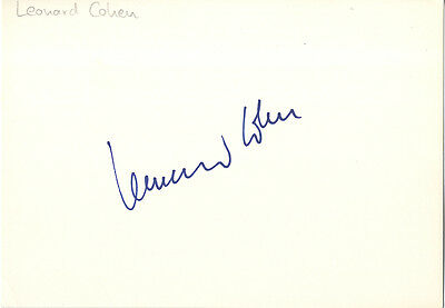 Leonard Cohen - Rare In Person Signed Card  Legendary Canadian Singer/Songwriter