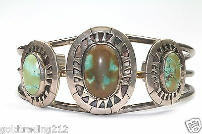 Native America Navajo Oval Green Turquoise Cuff Bracelet 925 Sterling Br 1282