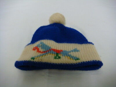 Original Vintage 1960's Empire Made Child's Bobble Hat with Rocking Horse Motif