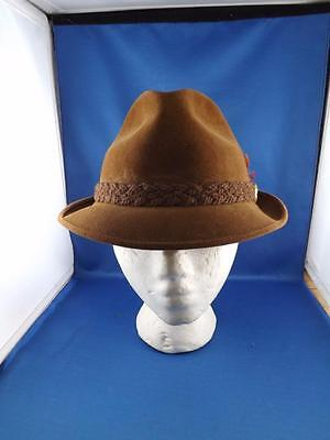 Biltmore Hat Velurin Brown Fedora Made Canada Felt Buckle Feathers Accent W/ Box