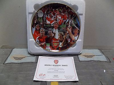 Danbury Mint Collectable Official Arsenal Double Winners 2002 Plate Certicate