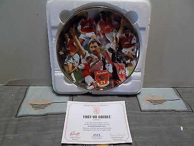 Danbury Mint Collectable Official Arsenal 1997-98 Double Winners Plate Certicate