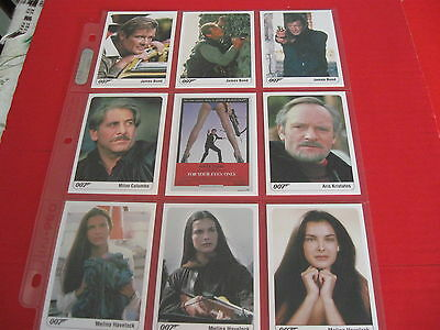 The Complete James Bond 007 Set of 9 For Your Eyes Only Cards