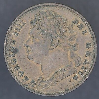 George Iv Copper Farthing Coin  Dated 1826 Vf
