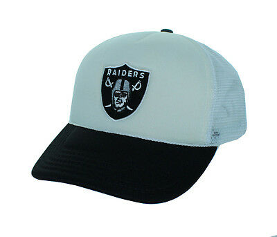 f2e44ae0d14 Oakland Raiders Adjustable Snap Back Hat Mesh Back Embroidered Cap - White