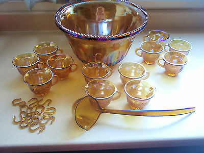 Carnival Floragold Amber Princess Grape Punch Bowl 26 Pieces Set Free Damage