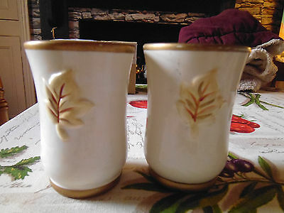2 hand painted pots