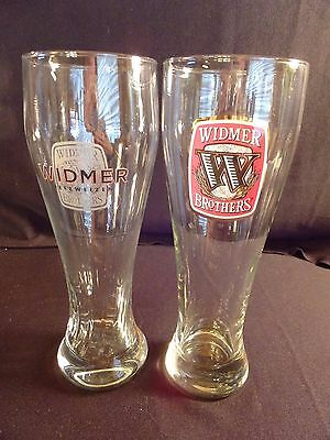 """Widmer Brothers Tall Beer Glasses Breweriana  9 1/8"""" Tall Man Cave"""