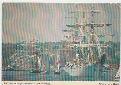 Vintage Postcard Of Tall Ships In Halifax Harbour Nova Scotia Canada Unposted.