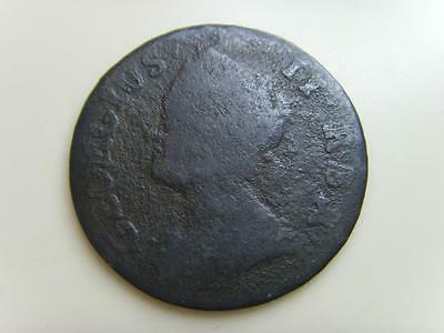 1744 Farthing King George Ii British Coin Great Britain