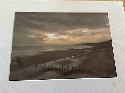 Whitby Print - Early Morning Sandsend By M Shaw And Signed