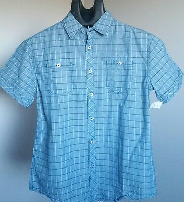 Boys Short Sleeve Button Front Shirt Size M 10/12 - Michael Brandon