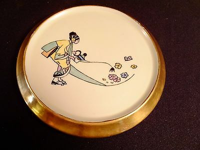 1925 Tea Tile Trivet White w/Gold Trim Hand Painted Asian Woman Watering Flowers