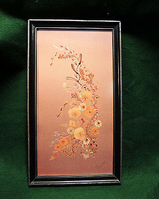 ORIGINAL FRAMED PRESSED FLOWER PICTURE  'Sussex Flowers' by Joyce Fenton.