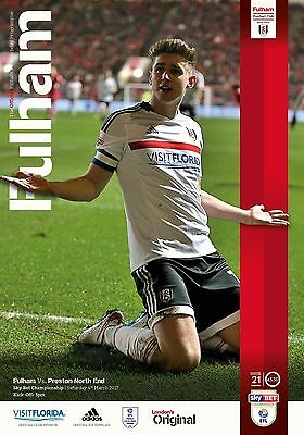 Fulham V Preston North End- Official Programme--4Th March 2017