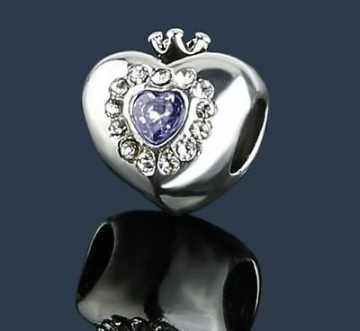Sparkling Silver Purple  Princess Fairy Tale Cz  Heart Charm Bead With Crown