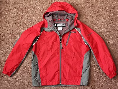 Columbia Red Gray Zip Front Jacket Windbreaker Boys Youth Size 10 12 Mesh Lined