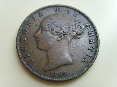 1858 Halfpenny Queen Victoria British Coin Great Britain Half Penny