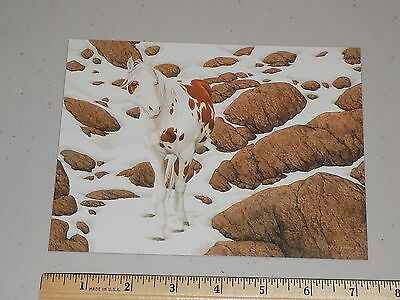 """Collectible unused Bev Doolittle art note card """"Horse, Snow and Rocks"""""""