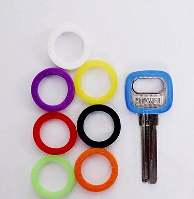 8Pcs Bright Color Silicone Hollow Key Cap Covers Topper Keyring With Bly Braille