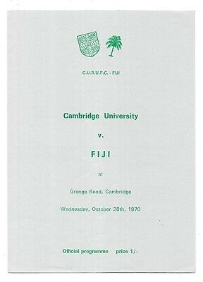 1970 - Cambridge University v Fiji, Touring Match Programme.