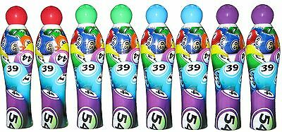 8 Mixed Bingo Dabbers, 2 each of Red Green Blue and Purple, 35 ml, Pack of 8