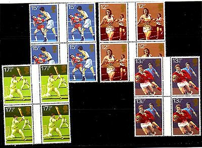 GB 1980 -SPORTS 2 SETS GUTTER PAIRS MNH (CRICKET-BOXING-RUGBY-RUNNING) Sc.924-2