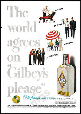 1947 Gilbey's Gin print ad - The World Agrees