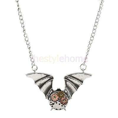 Vintage Antique Silver Steampunk Gear Bat Pendant Necklace Victorian Jewelry