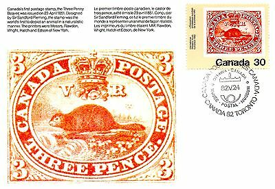 Canada 1982 Ppc - The Beaver. Stamp On Stamp -- Maxi Card