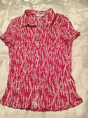 BHS   CLASSICS  Ladies  Blouse / Top Red / White   Brick Wall Design  Size 14