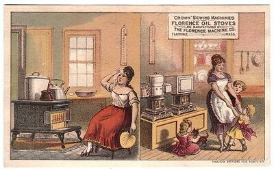 1880's Trade Card The Florence Machine Co. Massachusetts Boy it's Hot by Stove