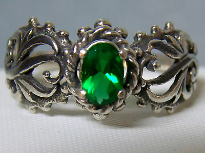 .45ct green Emerald antique 925 sterling silver filigree ring size 5 USA made