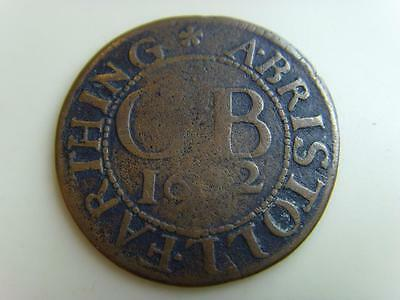 1662 Cb The Armes Of Bristol Farthing Token (Slightly Twisted) British Coin