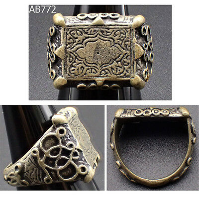 Stunning Royal Old Ottoman Empire Decorated Filigree Silver Mix Ring Size 9 #772