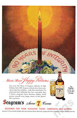 1947 Seagrams 7 Crown whiskey print ad - 90th Birthday - cake and candle