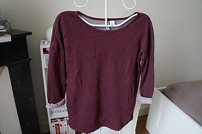 Pull haut t-shirt manches 3/4 bordeaux H&M Divided taille XS