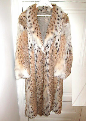 STUNNING Real LYNX Fur Exotic Spotted Long FULL LENGTH COAT Mink Fox Skin White