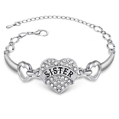 Shiny Diamante Clear Crystal Love Heart Sister Bracelet Bangle Cuff Jewelry Gift