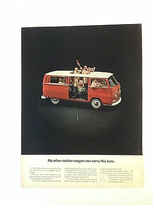1969 VW Volkswagen Station Wagon Bus Print Ad