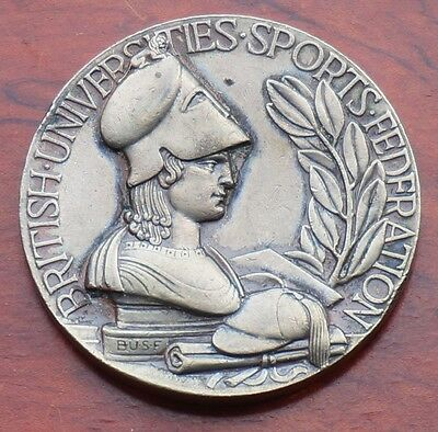 British Universities Sports Federation Rugby Fives medal, silvered metal VF